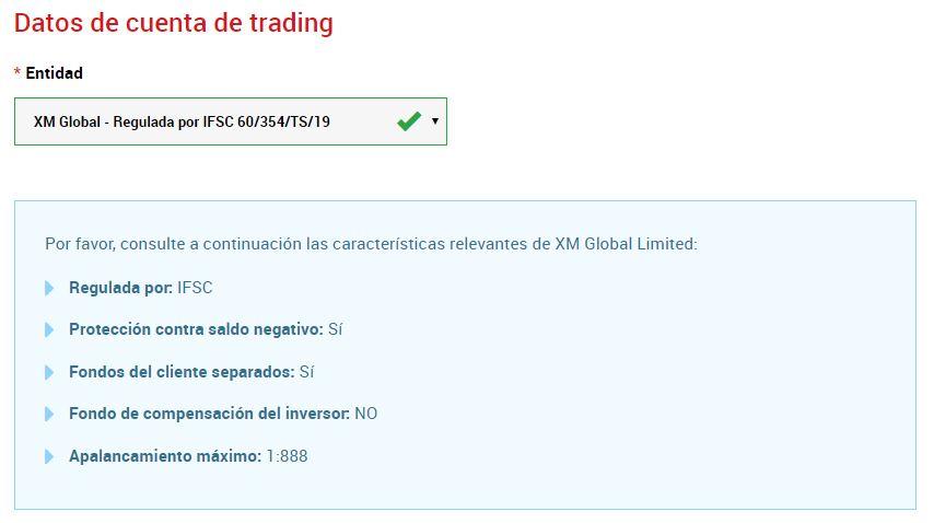 datos cuenta trading forex
